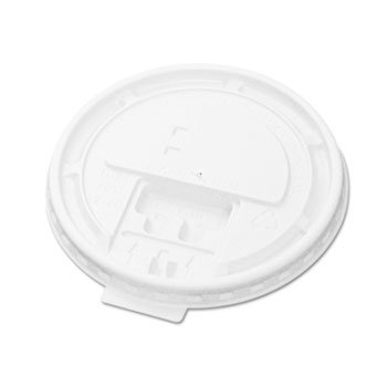 Hot Cup Tear-Tab Lids, Fits 10-20oz Cups, White, 100/sleeve, 10 Sleeves/Carton
