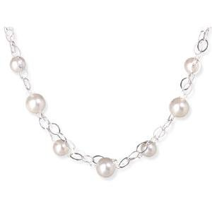 Double Strand White Imitation 12mm Pearl Necklace Sterling Silver Adjustable Length, Made in the USA