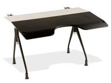 Envelop Desk by Herman Miller White Laminate Top Finish Black Umber Legs with Glides