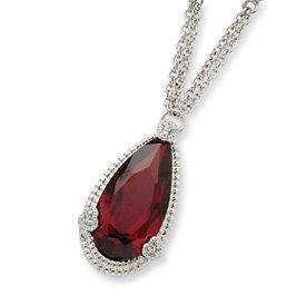 Sterling Silver Dark Red CZ Necklace - 16 Inch - Spring Ring - JewelryWeb