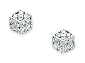 14ct White Gold CZ Small Cuboid Screwback Earrings - Measures 7x7mm