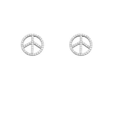 Casual Jewelry Button Earrings 925 Sterling Silver w/ Clear CZ Peace Symbol Design(WoW !With Purchase Over $50 Receive A Marcrame Bracelet Free)