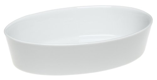 Pillivuyt Porcelain 2-Quart, 12-1/2-By-9-By-2-Inch Deep Oval Baker