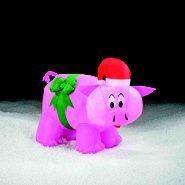 Pink Pig Wering Christmas Santa Hat & Green Bow 41