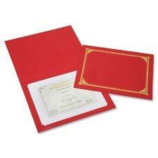 Skilcraft NSN6272960 Linen Gold Foil Certificate Holder, Red - 6 Per Pack
