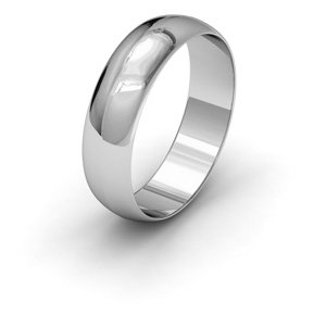 9ct White Gold, 5mm Wide, 'D' Shape Wedding Ring - Size N