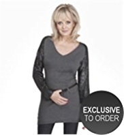 Twiggy for M&S Collection Sequin Embellished Sleeve Knitted Tunic with Angora