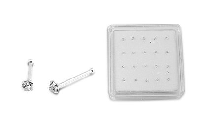 Clear Cubic Zirconia Nose Stud With Ball End - 1.8mm - Stone: Clear CZ