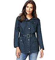 Indigo Collection Pure Cotton Belted Waxy Coat