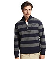 Blue Harbour Half Zip Striped Fleece Sweat Top