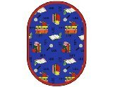 "Joy Carpets Kid Essentials Language & Literacy Oval Spanish Bookworm Rug, Blue, 10'9"" x 13'2"""