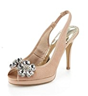 Per Una Peep Toe Diamanté Slingback Shoes with Insolia®