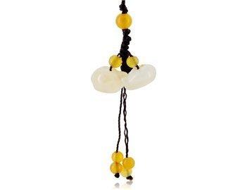 Huanglong Jade Water Jug ??Design Cell Phone Strap (Yellow)
