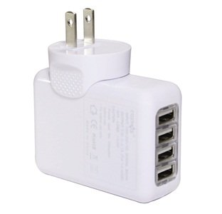 Cosmos ® 4-Port Wall To Usb Travel A/C Power Adapter Charger For Ipad 2 Iphone 3G 3Gs 4 4G Ipod Shuffle Nano Classic Touch