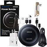 Official Samsung Fast Qi Wireless Pad - Power Bundle -for Galaxy S7/S8/S9/+/Note8/9/iPhone 8/+/X/XR/XS/Max (Retail Packing Kit) (Color: Power Bundle)
