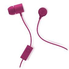 Nicole Miller Round Interlock Stereo Earbuds With Mic Magenta Pink Fuchsia