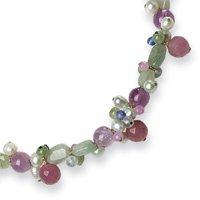 Sterling Silver Amethyst/Lav. Agate/Jade/Cultured Pearl/Labradorite Necklace - 17 Inch