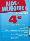 Aide-M�moire Passeport : 4e - 13-14 ans