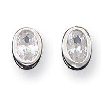 Sterling Silver 5x6mm CZ Oval Bezel Stud Earrings - JewelryWeb