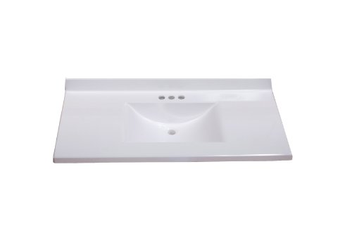 For Sale! Imperial FW3722SPW Center Wave Bowl Bathroom Vanity Top, Solid White Gloss Finish, 37-Inch...