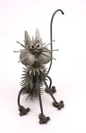 Double Fluffy Junkyard Cat Metal Sculpture