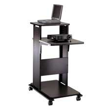 Buy Low Price Comfortable Tiffany Office Furniture Products – Presentation Stand, Adjustable, 18-1/2″x32-1/4″x39-1/4″, Black – Sold as 1 EA – Designed for laptop computers, overhead and/or LCD projectors, this presentation stand offers reversible shelves and casters for easy mobility (two locking). Top surface is 38-1/2″ high, providing a comfortable position for standing presentations. Front surface supporting projectors is adjustable to three positions in 4″ increments. Fixed secondary shelf holds additional equipment. (B004E3M3PO)