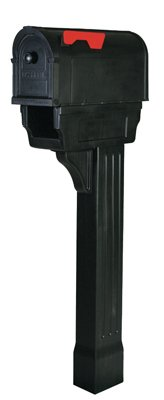Creative-Solutions-PP300CBL-Hampton-Mailbox-With-Post-Cover-Newspaper-Holder-Black-Polypropylene-Large-52-x-825-x