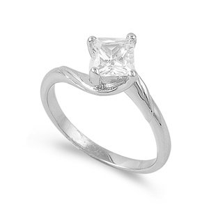 Elegant Sterling Silver Engagement Promise Ring with Sqaure Clear CZ Stone - 2mm - size5