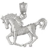 CleverEve 14K White Gold Pendant Horse 2.2 Grams