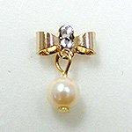 Jewelry Nail プリティネイル チャーミングリボンー1 パール ゴールド PNー0307G