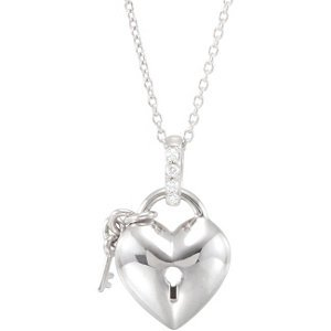 Genuine IceCarats Designer Jewelry Gift Sterling Silver .05 Ct Tw Diamond Heart Necklace