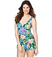 Tummy Control Paradise Floral Ruched Skirt Swimsuit