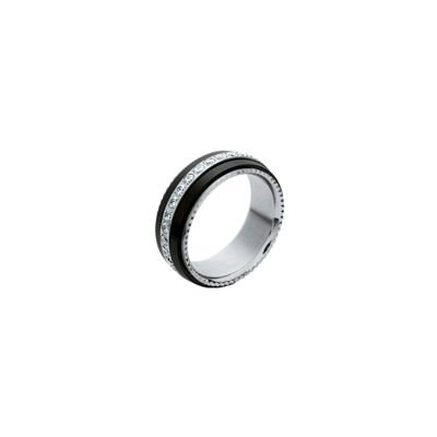 Ladies Stainless Steel Black Ceramic Clear Cubic Zirconia Rotating Spinning Eternity Wedding Band Ring - Size 7.5