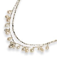 Sterling Silver White FW Cultured Pearl Necklace - 16 Inch - Lobster Claw - JewelryWeb