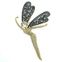 Gold Brass with Clear Swarovski Crystal Brooch, Weight: 30.40gm - Animal