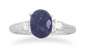 Sterling Silver Rough-Cut Sapphire and CZ Ring / Size 9
