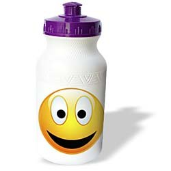 Perkins Designs Characters - Smiley Face 2 a yellow and black happy face with a big smile and glowing nose - Water Bottles