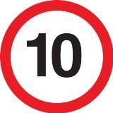 Reflective Road Traffic Sign - 10mph Maximum Speed (3mm aluminium) 300mm dia - For wall mounting