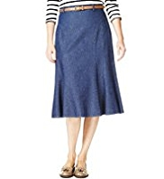 Classic Pure Cotton Panelled Denim Skirt with Belt