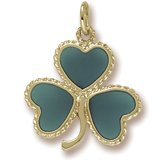 Rembrandt Charms, Shamrock, Green Enamel Charm, 22K Yellow Gold Plate on .925 Sterling Silver