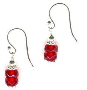 Stacked Red Glass and Bali .925 Sterling Silver Earrings