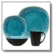 16 Piece Blue Casa Granada Square Dinnerware Set for 4