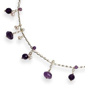 Sterling Silver Amethyst FW Cultured Pearl Necklace 16 Inch - Lobster Claw - JewelryWeb