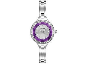Bulova 96L17 Ladies Semi Bangle Links Purple Bracelet Watch