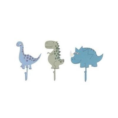 Childrens Set of 3 Boys Dinosaur Coat Hooks