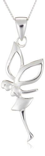 Silver Fairy Drop Pendant + Curb Chain 46cm