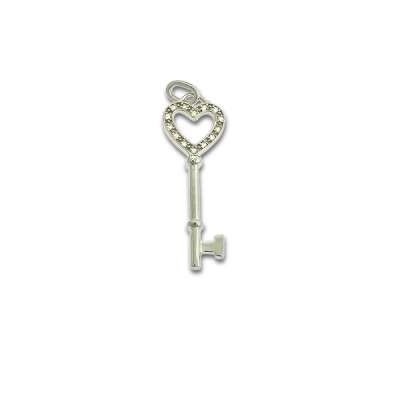 Stylish Necklace Jewelry Sterling Silver Small Key Pendant With Open Heart Top Design And Clear CZ (WoW !With Purchase Over $50 Receive A Marcrame Bracelet Free)
