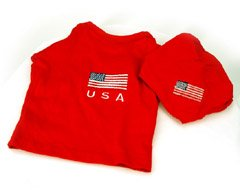 U.S.A. Collar Accessible Matching 2 Piece Embroidered Dog Tee with Bandana (XSmall)