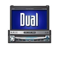 Dual XDVD9101 AM/FM/DVD Receiver with 7-Inch Motorized LCD, Touch Front Panel Full i-pod via USB (Black)