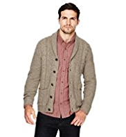 North Coast Shawl Collar Flecked Cardigan with Wool